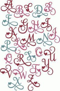Silhouette Design Store: Valentine Flourish Alphabet - Initials to paint - Creative Lettering, Lettering Styles, Fancy Letters, Letters And Numbers, Tattoo Designer Online, Handwriting Fonts, Penmanship, Cursive, Letter Art