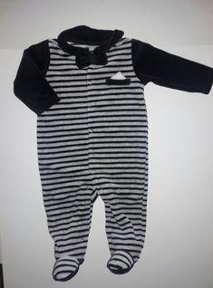e094200e9 ABSORBA Baby Boys' Velour 1 pc Footie- 6M -Black Gray Stripe Bow Tie  Hanky-SOFT