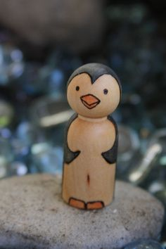 Penguin Peg doll, via Etsy.