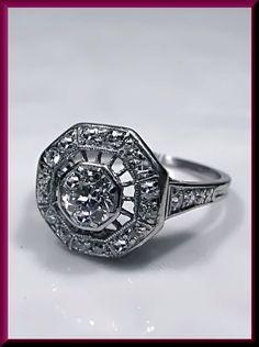 Antique Vintage Art Deco Platinum Old European Cut Diamond Engagement Ring Wedding ring by AntiqueJewelryNyc on Etsy
