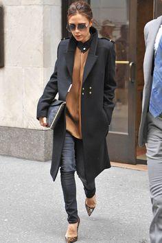 Victoria Beckham Fashion Icon Street Style Long Coat