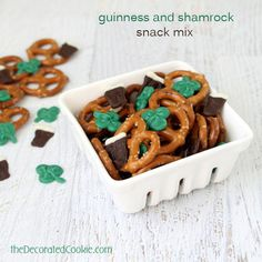 Love this FUN Guinness and Shamrock Snack Mix for St. Patrick's Day!
