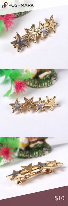 "Gold & Silver Stars French Barrette Hair Clip Gold & Silver Stars French Barrette Hair Clip --- Listing is for one --- 2.5"" l --- 0.8"" w Accessories Hair Accessories"