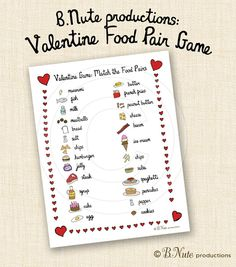 Valentine Game: Match the Food Pairs by B.Nute productions Although Hollywood couples split up in record time, there are a few pairs tha. Valentines Games For Couples, Homemade Valentines, Valentines Day Party, Valentines For Kids, Valentine Day Crafts, Printable Valentine, Valentine Ideas, Valentine Box, Valentine Wreath