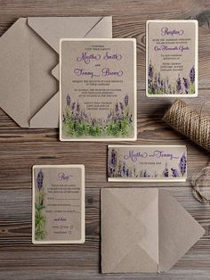 WEDDING INVITATION set ... kraft with green and purple watercolor flowers ... gorgeous!