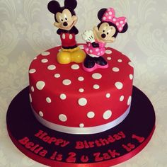 Mickey and Minnie Mouse joint birthday cake for girls and boys, this is for my babies birthday. To match their themed birthday party