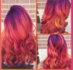 Pravana Vivids Magenta Hair Purple Hair Orange Hair Pink Hair Neon Hair Co Neon Hair, Purple Hair, Ombre Hair, Turquoise Hair, Violet Hair, Pretty Hair Color, Beautiful Hair Color, Color Fantasia, Phoenix Hair