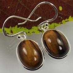 Natural TIGER'S EYE Gemstones Earrings 925 Sterling Silver ! Wholesale Supplier #Unbranded #DropDangle