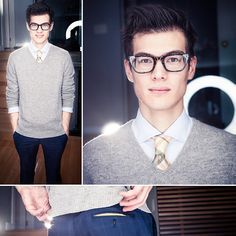 Burberry Yellow Plaid Tie, Spadari Milano S6 Shirt, Indochino Rivetti Blue Plaid Dress Pants, Warby Parker Neville Glasses