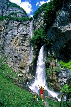 Picture of the 500-meter high Seerenbach Waterfalls - Switzerland.