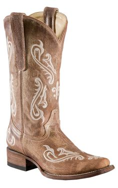 Corral® Ladies Tan Brown Cortez w/ Cream Embroidery Square Toe Western Boots | Cavender's Boot City