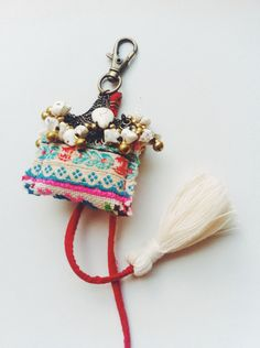 Keychain Trible fabric , Stone Beads , Tassel and small bell by ravmakeit on Etsy Hippie Chic, Boho Chic, Stone Beads, Boho Fashion, Tassels, Personalized Items, Trending Outfits, Unique Jewelry, Handmade Gifts