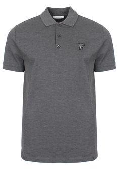 Versace Collection Logo Basic Pique Polo Shirt Mid Grey | Garment Quarter