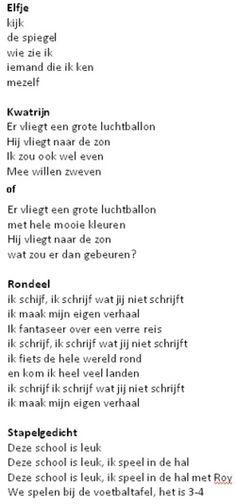 Verschillende soorten gedichten