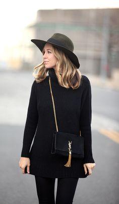 Topper via BrooklynBlonde.com / @Helena Glazer Hat: Club Monaco | Sweater: Banana Republic | Denim: Current/Elliott | Loafers: J Crew | Bag: Saint Laurent Tuesday, November 17, 2015