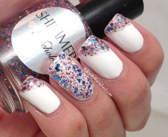 Valiantly Varnished: Angled French Tips with Shimmer Nichole