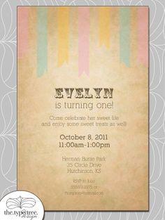 Vintage Birthday Invitation or Shower Invite DIY by thetypetree, $10.00