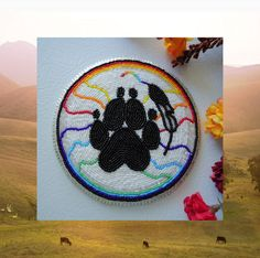 Native American Beaded Medallion Rosette  Wolf Paw Eagle Feather, $125.0