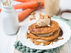Carrot Cake Pancakes with White Chocolate Pecan Butter