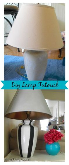 Diy Goodwill Dumpy lamp gets a Striped Makeover! Also learn how to revive an old fuzzy lampshade!