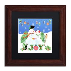"Trademark Art 'Xmas Snowman' Framed Graphic Art Print Mat Color: Black, Size: 11"" H x 11"" W x 0.5"" D"