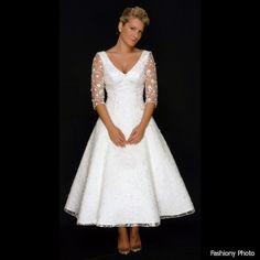 knee length wedding dress mature bride
