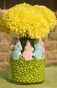 I'm thinking jelly beans with peeps.... Cute!