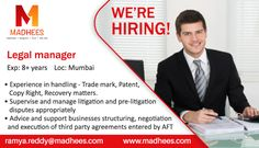 Hiring professionals! #LegalManager with 8+ years experience in handling Trade mark, Patent, #LitigationDisputes etc. Contact us for more info and share the resume on ramya.reddy@madhees.com