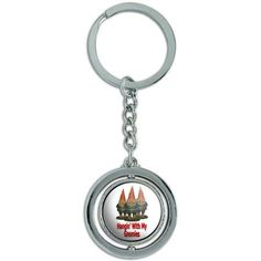 Hangin With My Gnomies Hanging Gnomes Spinning Round Metal Key Chain Keychain Ring, Silver