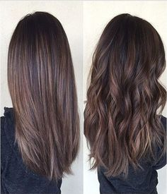 Chocolate brown hair with balayage
