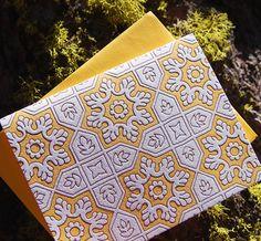 Antique Tile Letterpress Card, single - wild ink press