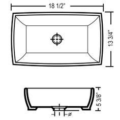 Rectangular White / Black Porcelain Ceramic Countertop Bathroom Vessel Sink - 18-1/2 x 13-3/4 x 5-3/8 Inch