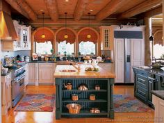 [ Small Log Cabin Kitchen Designs Interior Decorating House Photos Gallery ] I like log houses. I make clear the fact that I prepare for my next property to be one. Two Tone Kitchen Cabinets, Kitchen Cabinet Design, Kitchen Designs, Kitchen Island, Kitchen Ideas, Kitchen Decor, Teal Kitchen, Green Cabinets, White Cabinets
