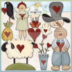 Prim Sweethearts 1 - NE Trina Clark Clip Art