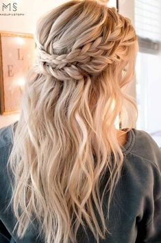 Double-braid half up hairdo