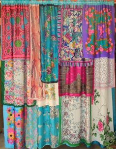 SPRINGTIME IN PARIS Bohemian Gypsy Curtains, try single layer for shorter kitchen curtains!