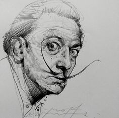 """A true artist is not one that is inspired but one who inspires others."" Salvador Dali – drawing by Alvin Chong ""Een echte kunstenaar is niet iemand die geïnspireerd is, maar iemand die anderen inspireert. Portrait Sketches, Pencil Portrait, Portrait Art, Pencil Art Drawings, Drawing Sketches, Art And Illustration, Life Drawing, Painting & Drawing, Face Sketch"