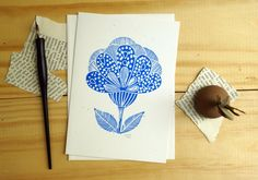 Blue flower. Stationery. Linocut by Toshisworld on Etsy, $5.00