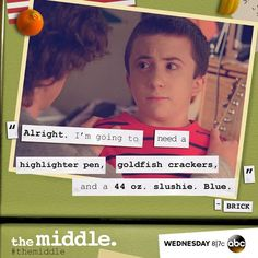 When I'm reading for school. The Middle Tv Show, Kids In The Middle, Atticus Shaffer, Book Tv, How To Show Love, See On Tv, Favorite Tv Shows, Movies And Tv Shows, I Laughed