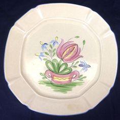 Vintage Designcraft USA Plate Serving Platter Tulip Numbered 403 Tan Blue Edge  #DesignCraft