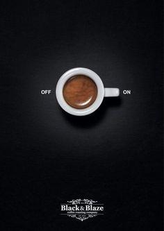 Prosta, ale wymowna reklama kawy. Chyba nie ma osoby, której ten napój nie postawi od rana na nogi! ;)
