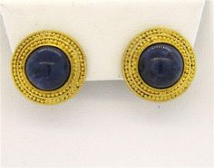 18k Gold Greece Lapis Etruscan Beading Earrings Featured in our upcoming auction on December 14, 2015 11:00AM EST!