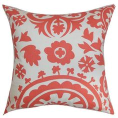 The Pillow Collection Wella Floral Bedding Sham Size: Standard, Color: Coral White Floral Throws, Floral Throw Pillows, Throw Pillow Sets, Outdoor Throw Pillows, Pillow Talk, Decorative Pillows, Cricut, Floral Bedding, Bedding Basics