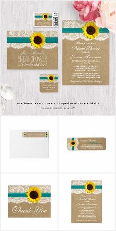 Sunflowers Burlap & Lace WEDDING SET COLLECTION Country Rustic Chic Pretty Personalized Turquoise Ribbon & Sunflower Invites Announcements Invitations Postage Stamps Labels Stickers Thank You RSVP Cards & More!