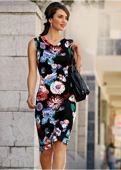 Vestido de malha preto estampado