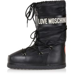 Moschino LOVE MOSCHINO Rain/Snow boots (3,320 DOP) ❤ liked on Polyvore featuring shoes, boots, leather footwear, self tying shoes, moschino boots, rubber sole boots and leather snow boots
