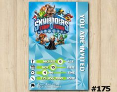 free printable skylander trap team invitations | Skylanders invitation Trap Team Sky landers card birthday custom ...