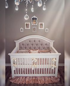 Gorgeous one of a kind custom tufted convertible crib with rhinestones. G.L.A.M.