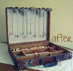 So what if you take old suitcases or briefcases- add mirror to back? Add your own divisions? This is an art box that has its own divisions and is out of wood so easy to add small hooks too. Like the idea that you could just close it and 'go' carrying the jewerly in the case itself!