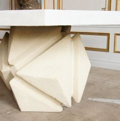 Moderne Cast Stone Geometric Dining Table by Robert Hutchinson at 1stdibs